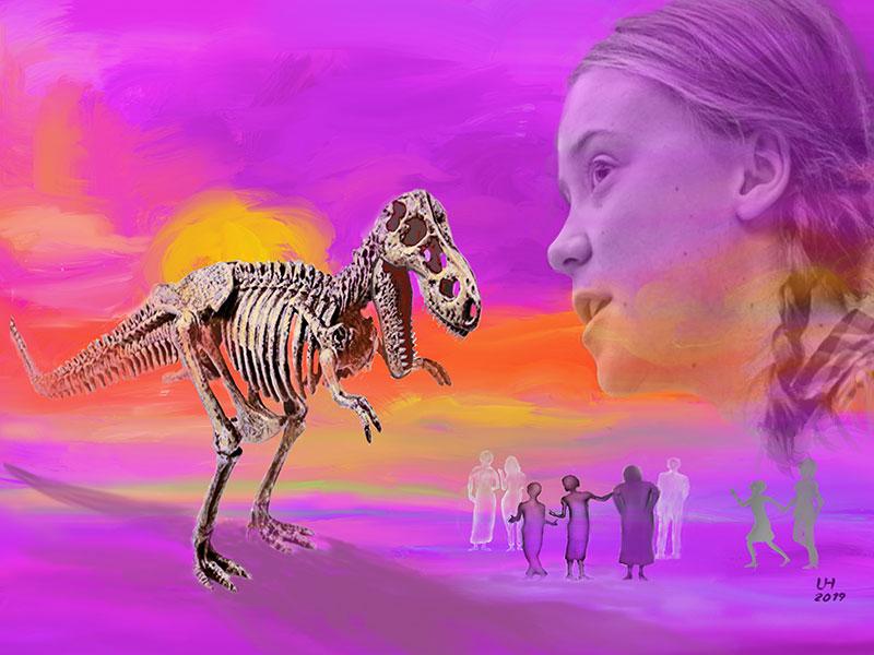 Kunst, Gemälde, Klimawandel, Dürre, Hungernot, Aussterben, Artensterben, Wüste