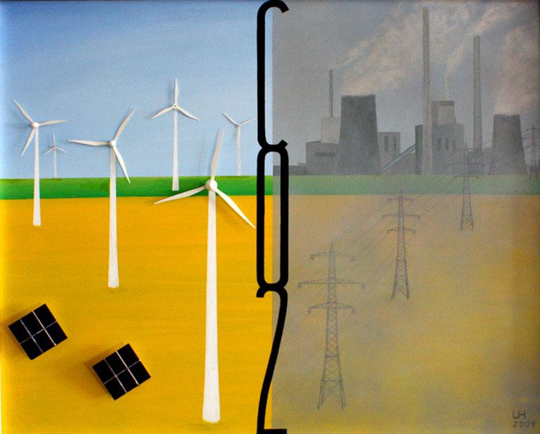 Kunst, Umweltschutz, Umweltverschmutzung, Kohlendioxid, Kohlestrom, Kraftwerk, Alternative Energien, Windkraft